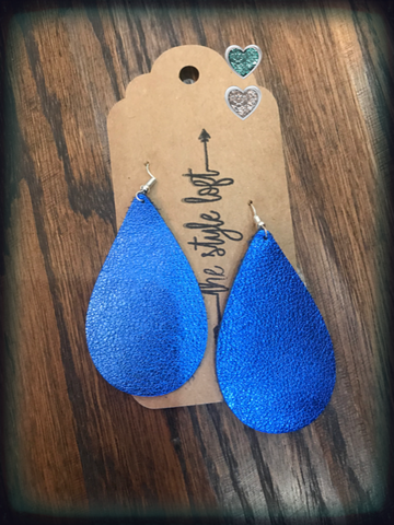 Royal Blue Metallic Leather Earrings