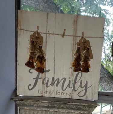 Family First & Forever White Shiplap Sign