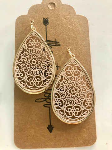 Nude Moroccan Tear Drop Earrings