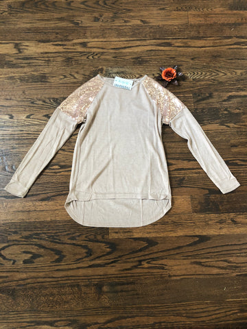Taupe Tunic Sequin Shoulder