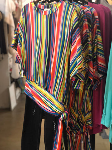 TSL Vibrant Striped Tunic with Sassy Tie