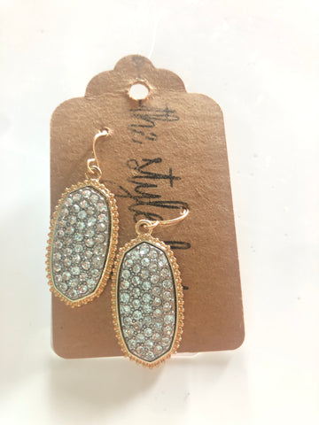 Gold/ Clear Glitter Stone Earrings