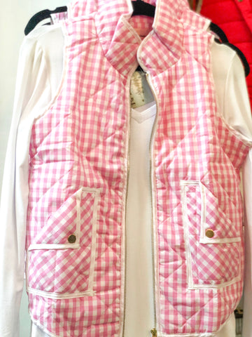 Pink and White Plaid Vest