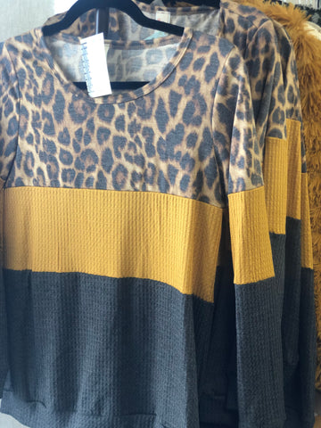 Leopard, Mustard & Charcoal Color Block