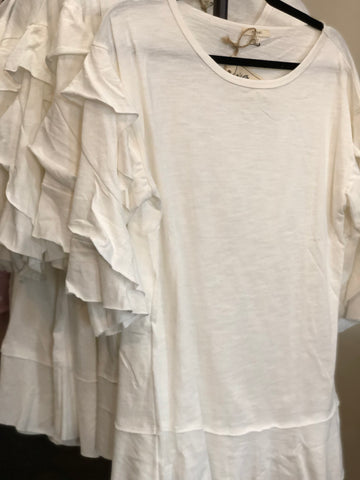 Vanilla Ruffled Sleeves Slub Knit Loose Fit Tunic
