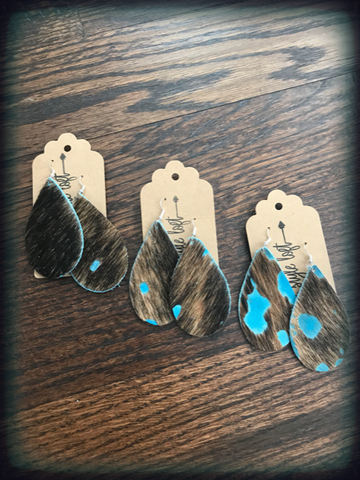 Turquoise Hide Leather Earrings