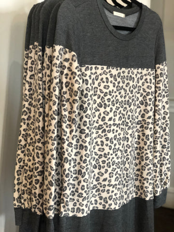 TSL Charcoal Leopard Color Block Tunic/Dress