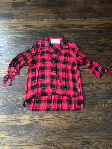 Red Black Plaid Top Sleeve Tie