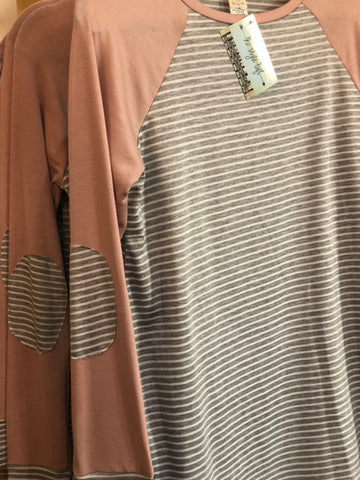 Blush Accent Grey Striped Long Sleeve Raglan