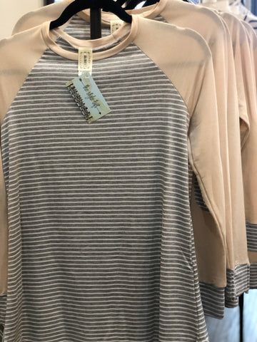 Taupe Accent Grey Striped Long Sleeve Raglan