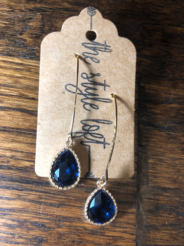 Midnight Blue Colored Glass Tear Drop
