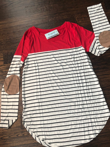 Ruby Red Striped & Solid Color Block