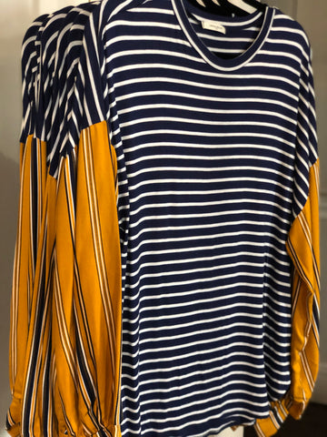 TSL Navy Striped Tunic with Mustard Stripe Sleeves