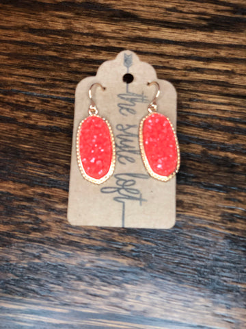 Coral Druzy Earrings