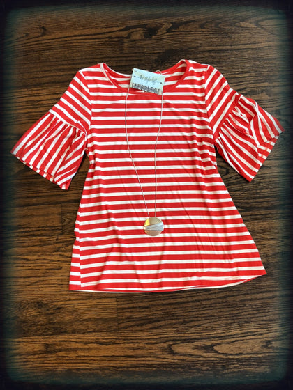Red Orange Striped Top