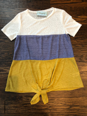 Mustard, White & Chambray Color Block Knotted