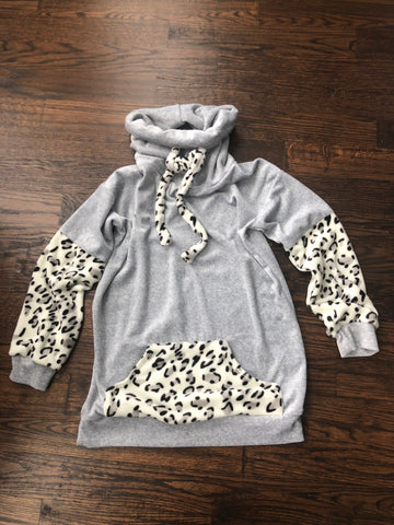 Grey Leopard Plush Cowl Neck Tunic