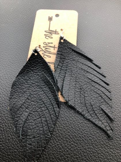 Black Feather Leather Earrings