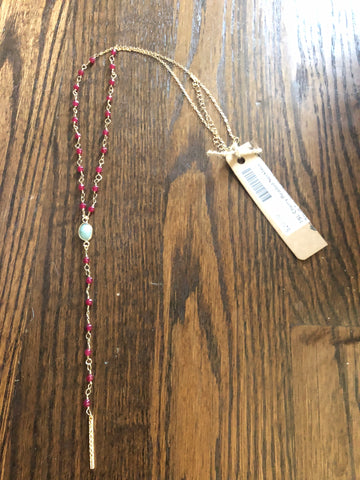 Cherry Beaded Necklace Small Turquoise Stone