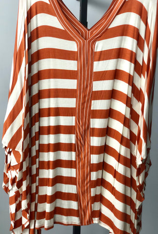 Copper/Ivory Oversized Stripe Poncho Tunic Top