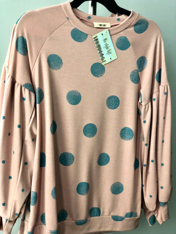 Blush Polka Dot Sweatshirt Pleated Sleeves