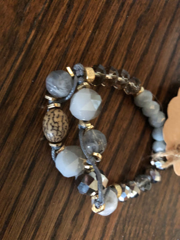 Grey Stone Threaded Stretch Bracelet