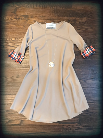Taupe Dress Plaid Rolled Up Sleeves