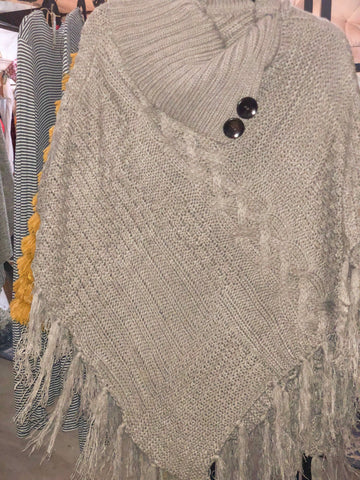 Mocha High Neck Multi Tassel Poncho