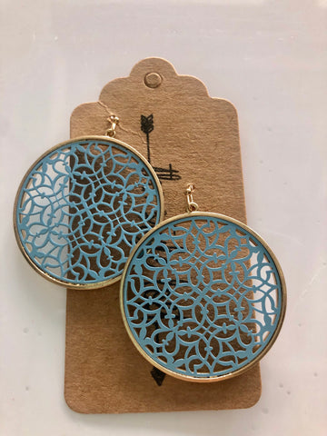 Blue Round Moroccan Earrings