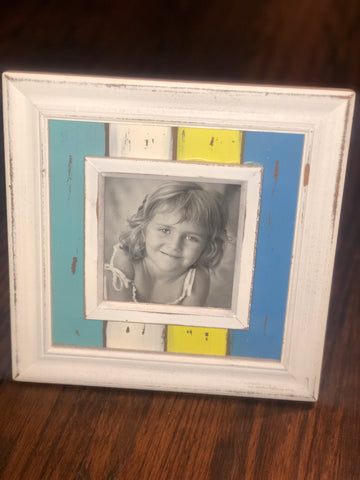White, Yellow & Turquoise Shiplap Distressed Wood Frame