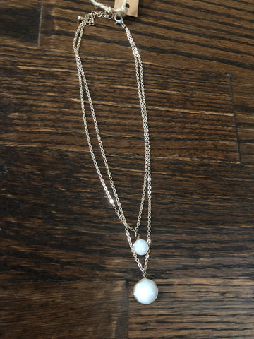 Grey & White Pendant Stone Double Layer Necklace