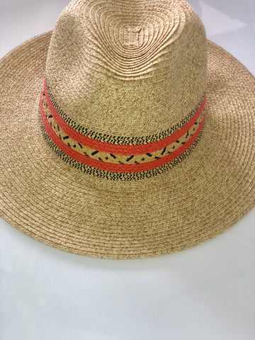 Coral Striped Tribal Pattern Accent Sun Hat
