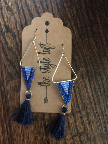 Blue Triangle Beaded Tassel