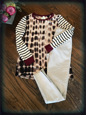 Burgundy Tie Dye Tunic with Striped Sleeves