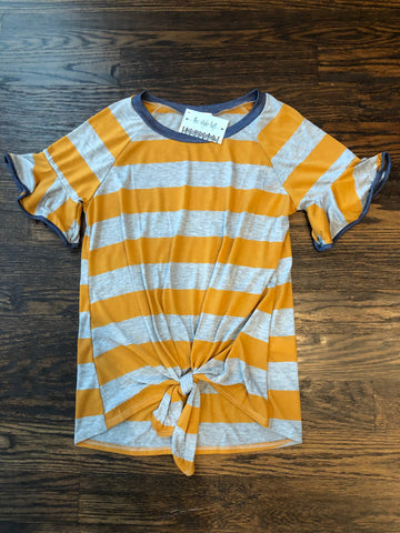 Mustard Striped Knotted Top Ruffle Sleeve Navy Trim