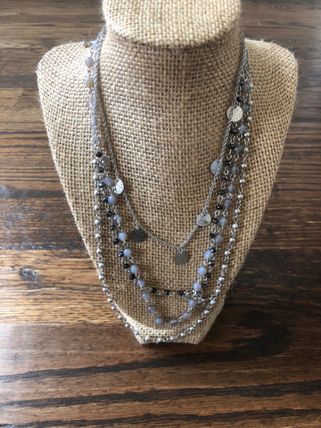 Grey & Silver Layer Necklace