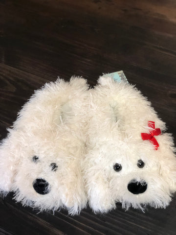 Ivory Super Soft Fuzzy Puppy Slippers
