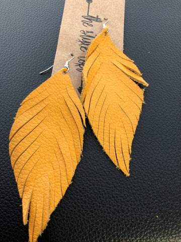 Mustard Feather Leather Earrings