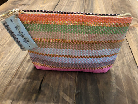 Pink Striped Zipper Clutch/Pouch