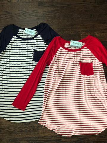 Ivory & Red Striped Raglan Tee