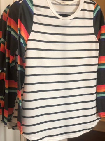 Ivory Charcoal Striped Tunic Rainbow Sleeves