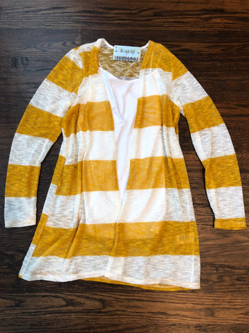 Mustard/White Wide Stripe Cardigan