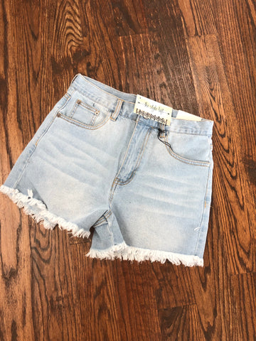 Light Blue Frayed Denim shorts
