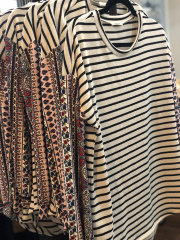 TSL Black & White Striped Tunic Pink Patterned Sleeves