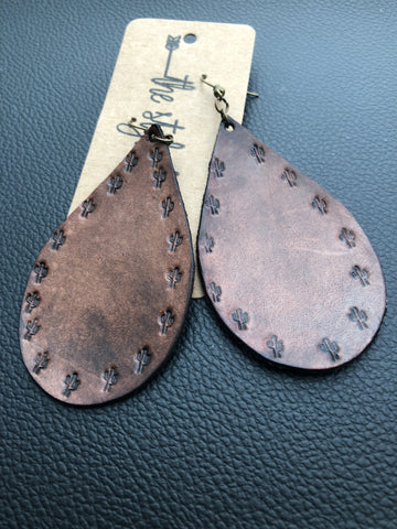 Saddle Brown Cactus Embossed Leather Earrings