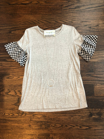 Heather Grey Top Contrast Black & White Ruffle