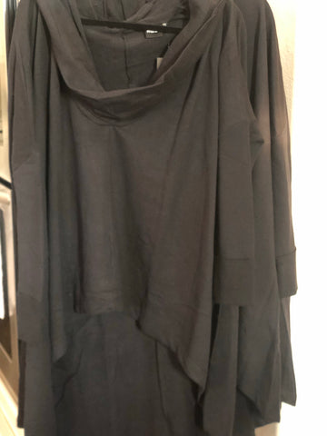 Black Hi-Lo Slouch Athleisure Tunic