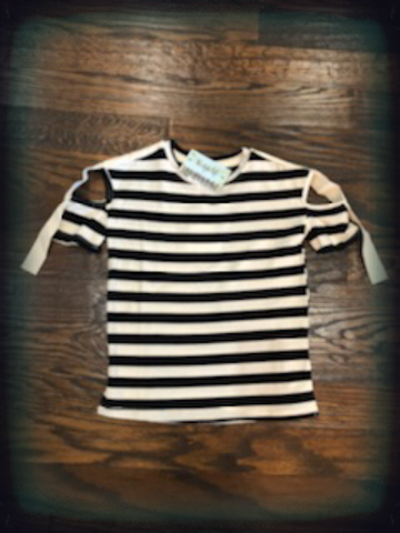 Black Striped Top Shoulder Tie