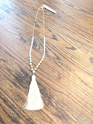 Chocolate & Cream wooden beaded long necklace with taupe tassle