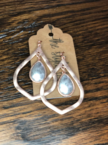 Rose Gold Hammered Marquee Dangle Earrings